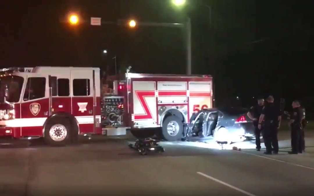 Drunk Driver Gets Pinned in Car after Slamming into Fire Truck