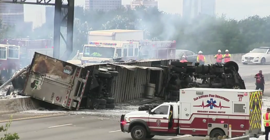 Driver Rescued from the Flames of Truck Crash near Downtown San Antonio