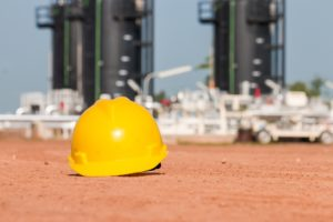 Hard hat that is safety equipment in oilfield